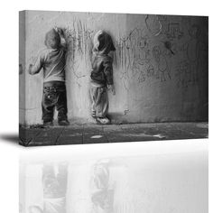 """Banksy Canvas Wall Art for Living Room, PIY Scrawling Kids Picture Artwork, Graffiti Canvas Prints for Bedroom, 1"""" Thick, Bracket Mounted, Waterproof"""