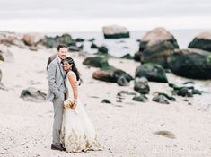 Now that their ceremony is complete, this delightful bride and groom whisk off to the beach for some super sweet portraits.