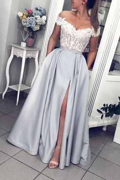 Gray Satin White Lace Off Shoulder Strapless Long Prom Dress, Evening Dress from.Gray Satin White Lace Off Shoulder Strapless Long Prom Dress, Evening Dress from Girlsprom - Handmade item Materials: Sat# dress # Prom Dresses With Pockets, Pretty Prom Dresses, Prom Party Dresses, Cute Dresses, Dress Prom, Gray Prom Dresses, Wedding Dresses, Bridesmaid Gowns, Party Gowns