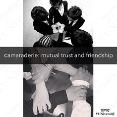 """Camaraderie"" (not ""comraderie"") is a word that describes the unity friendship and trust that exist among people who spend a lot of time together e.g. players on a team band members and roommates.  For example ""After working together for more than a decade there is no denying the camaraderie that exists among the members of BIGBANG.""   #vocabulary #camaraderie #english #bigbang #vip"
