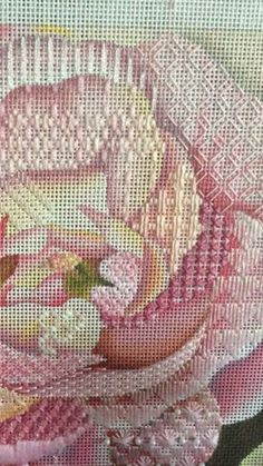 shadow stitching needlepoint on flower