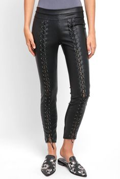 5b071bf8e7a Blank NYC Lace Up Vegan Legging in BLACK