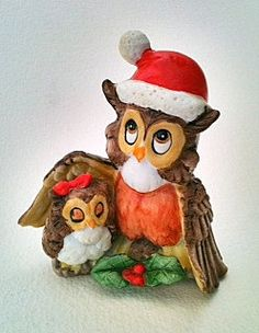 Vintage Christmas Owl  Figurine Daddy  Daughter  Big Brother Little Sister Owls Brown Gold Red Green