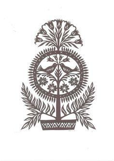 """Papercut, Scherenschnitt """"Lithuanian Flower Ornament"""" by Lithuanian folk artist Odeta Brazeniene"""