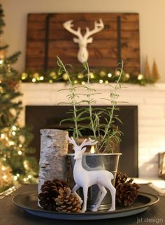 christmas displays vignettes christmas deer decorationscoffee table