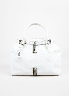 6560e93bc81 Fendi Selleria White Pebbled Leather Embossed