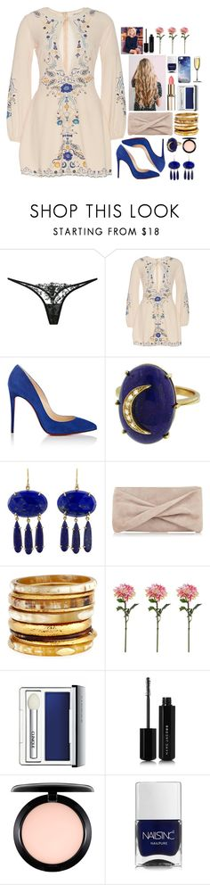 """""""THE DARKEST NIGHTS PRODUCE THE BRIGHTEST STARS"""" by fran-peeters ❤ liked on Polyvore featuring La Perla, Christian Louboutin, Andrea Fohrman, Irene Neuwirth, Reiss, Ashley Pittman, Clinique, Marc Jacobs, MAC Cosmetics and Nails Inc."""