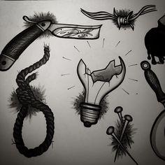 flashset razor knife broken bulb noose nails neotraditional with copic markers by satanischepferde  #draw #drawing #illustration #dark #sketch #sketchbook #neotraditional #black #white #art #creative #artwork #design #tattoo #tattooflash #flashset #copic #copicmarkers #ink #occult #bulb #noose #razor #knife #nails #wire