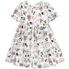 Fendi Baby Girls White Monster Space Print Silk Dress at Childrensalon.com
