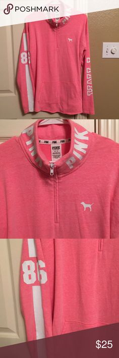 Victoria Secret pink half zip up sweater Super cute and comfy Victoria Secret pink half zip up sweater. Great condition only worn 2 times. Had pockets on front, Long sleeve with white lettering. Size medium. Color- pinkish super cute! PINK Victoria's Secret Tops Sweatshirts & Hoodies