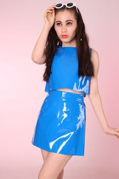 Image of Made To Order - Primary Blue PVC Motel 2 piece Set