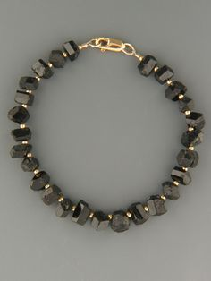 Black Tourmaline Bracelet - with 2mm round Gold beads