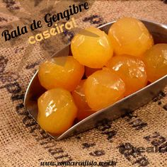 BALA DE GENGIBRE CASEIRA Fruit Recipes, My Recipes, Sweet Recipes, Peanut Brittle, Sweet Life, Coco, Japanese Food, Gluten Free Recipes, Food And Drink