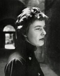 © Herbert List/Magnum Photos. ITALY. Rome. Campo di Fiori. Austrian Writer Ingeborg BACHMANN. 1954.