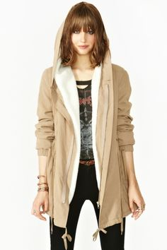 This jacket is cute, sheerling lined and comfy. Want!