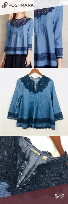 """Anthropologie Holding Horses denim chambray top Size 10 Mint condition Bust- 40"""" Length from shoulder to hem- 25"""" Cuff is missing small button but extra is on the inside Anthropologie Tops Blouses"""