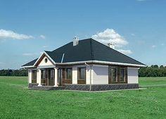 Elewacja frontowa projektu Aleksandria - murowana - ceramika Compact House, Small House Plans, Home Fashion, Gazebo, Porch, Shed, Villa, Outdoor Structures, Cabin