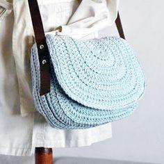 Sky blue messenger bag women saddle purse crochet handbag crossbody saddle bag genuine leather strap messenger bag women from zolayka on Etsy. Crochet Handbags, Crochet Purses, Crochet Bags, Love Crochet, Bead Crochet, Knitted Bags, Crochet Dolls, Crochet Ideas, Stitch Crochet
