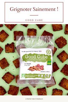 Good Cube propose des biscuits gourmands, sains, bio et éco-responsable, pour les sportifs (et moins sportifs), GOOD pour les papilles, GOOD pour le corps et GOOD pour la planète. Les recettes sont validées par un médecin nutritionniste et sont sans lactose, sans additif, ni conservateur et parfois végan ou sans gluten. Les encas Good Cube sont fabriqués artisanalement à Paris et emballés dans des sachets en papier transparent 100% recyclés, recyclables et compostables. Biscuits Bio, Lactose, Sachets, Transparent, Cereal, Dairy, Gluten, Cheese, French