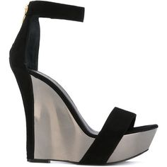 Balmain metallic wedges open ($1,440) ❤ liked on Polyvore featuring shoes, black, high wedge shoes, high heel wedge shoes, black wedge heel shoes, ankle strap shoes and metallic wedge shoes