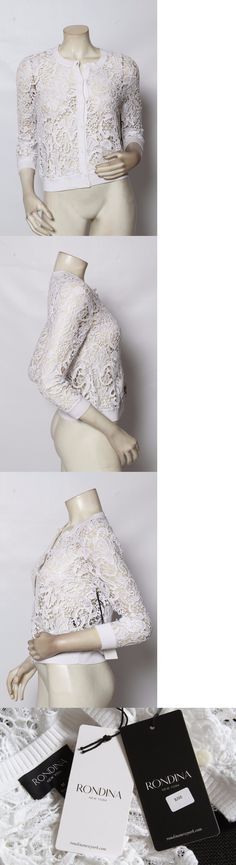 Sweaters 63866: Rondina White Embroidered Lace Button Up Cardigan Sweater Sz Xs S M $295 Nwt -> BUY IT NOW ONLY: $45 on eBay!