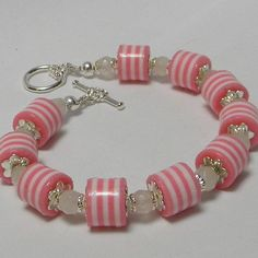 Pink and White Striped Beads with Frosted White by marilyn1545, $25.00