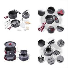 Camping Cookware Mess Kit 18Pcs Leisure Backpacking Gear Portable Outdoor Hiking Backpacking Gear, Hiking Gear, Camping, Kit, Sport, Ebay, Campsite, Camp Gear, Deporte