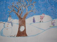 "2nd grade winter tree watercolor landscape painting; 12""X18""; lesson designed by art teacher: Susan Joe"