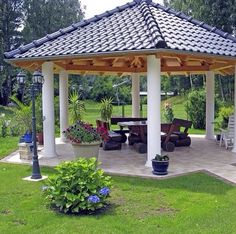 Pergola With Roof Plans Backyard Pavilion, Outdoor Pavilion, Backyard Gazebo, Garden Gazebo, Outdoor Gazebos, Backyard Garden Design, Backyard Retreat, Garden Landscape Design, Backyard Landscaping