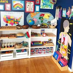 Playroom Design: Do It Yourself Playroom with Rock Wall. 30 Remarkable Kids Playroom Ideas - Home Decor Montessori Playroom, Baby Playroom, Playroom Organization, Montessori Homeschool, Waldorf Playroom, Kids Wall Decor, Playroom Decor, Playroom Ideas, Walmart Shelves