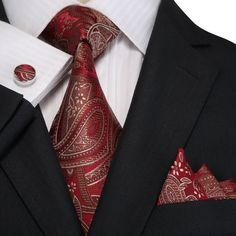 Red and Tan Paisley Necktie Set - JPM18E02