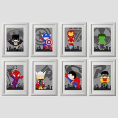 superhero wall art prints, set of 8, superhero nursery or bedroom wall art, 8 high quality prints, shipped to your door!