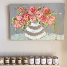 Just one of the GORGEOUS new pieces of Come by and see us today- we will be OPEN until by sweetpineapplehome Watercolor Paintings, Floral Paintings, Painting Flowers, Art Flowers, Acrylic Paintings, Mediums Of Art, Pallet Painting, Wonderful Flowers, Abstract Canvas Art