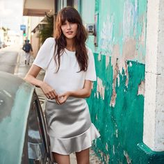 H&M Woven Top and Satin Skirt