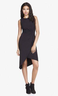 Black Twist Midi Dress   Express