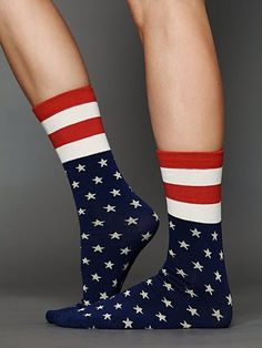 Free People Americana Ankle Sock from Free People. Saved to Fantasy Closet. Funky Socks, Crazy Socks, Cool Socks, Awesome Socks, American Pride, American Flag, Ankle Socks, Sock Shoes, Red White Blue