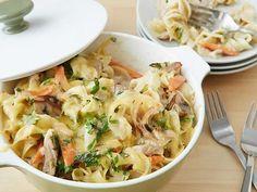 Get Chicken Noodle Casserole Recipe from Food Network [add chkn pot pie sauce & no chse]