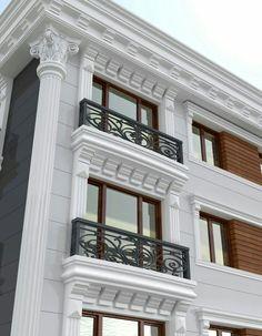 Dış Cephe Söve Modelleri 2018 - Bilgi Deryası Railing Design, Facade Design, Exterior Design, Classic House Exterior, Classic House Design, House Outside Design, House Front Design, Cornice Design, Window Design