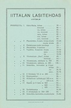 Pakkaus hinnasto, Iittala 01.01.1937 - Pienpainatteet - Digitoidut aineistot - Kansalliskirjasto