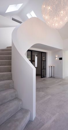 Curved White plastered Staircase with Crittal doors and stunning white chandelier lighting Rustic Bathroom Lighting, Bathroom Ceiling Light, White Staircase, Staircase Design, Spiral Staircase, White Chandelier, Chandelier Lighting, Chandelier Staircase, Crittal Doors
