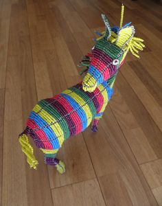 African Beaded Wire Animal Sculpture  ZEBRA LARGE  by Hadeda, $89.00