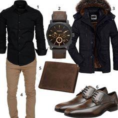 Alltags-Outfit mit schwarzem Hemd, Chino und Geldbörse - outfits4you.de