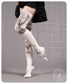 Ivory Thigh Highs Hot Air Balloons by Carousel Ink - thigh high socks - stockings tights - thigh highs by Carouselink on Etsy https://www.etsy.com/listing/200029999/ivory-thigh-highs-hot-air-balloons-by