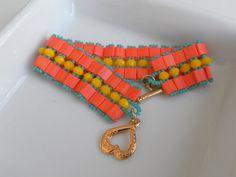 yellow orange beaded bracelet, Charm Bracelet, Friendship Bracelet, Beadwork Jewelry handmade bracelet, beaded bracelet on Etsy, $34.00