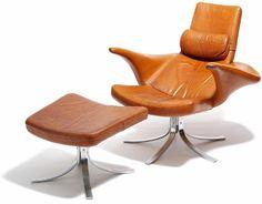 """Gösta Berg & Stenevik Eriksson for Fritz Hansen, """"Seagull"""" chair and ottoman, 1968"""