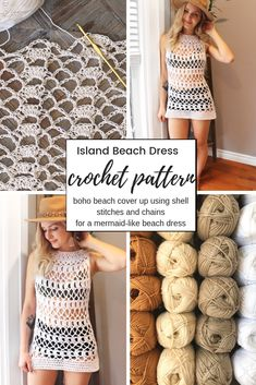 Island Beach Dress Crochet Pattern Easy crochet beach cover up using shell stitches and chains for a mermaid-like stitch pattern! Sizes included, as well as photo instructions. Crochet Cover Up, Easy Crochet, Knit Crochet, Beginner Crochet, Crochet Summer, Crochet Stitch, Beach Coverup Pattern, Crochet Beach Dress, Crochet Dresses