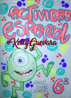 #KellyGuevara   #cuadernos Up Halloween, My Notebook, Diy And Crafts, Banner, Notes, Kawaii, Kitty, Neon Signs, Lettering