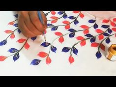 Simple and Beautiful Leaves Leaf Design Easy Fabric Painting for Beginners . - Hobbies paining body for kids and adult Saree Painting Designs, Fabric Paint Designs, Fabric Design, Fabric Painting On Clothes, Painted Clothes, Hand Embroidery Designs, Embroidery Patterns, Embroidery Tattoo, Simple Embroidery