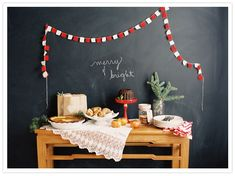 Loving the chalkboard wall - Holiday desserts