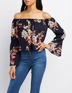 f521ff217f6bd Floral Off-The-Shoulder Bell Sleeve Top